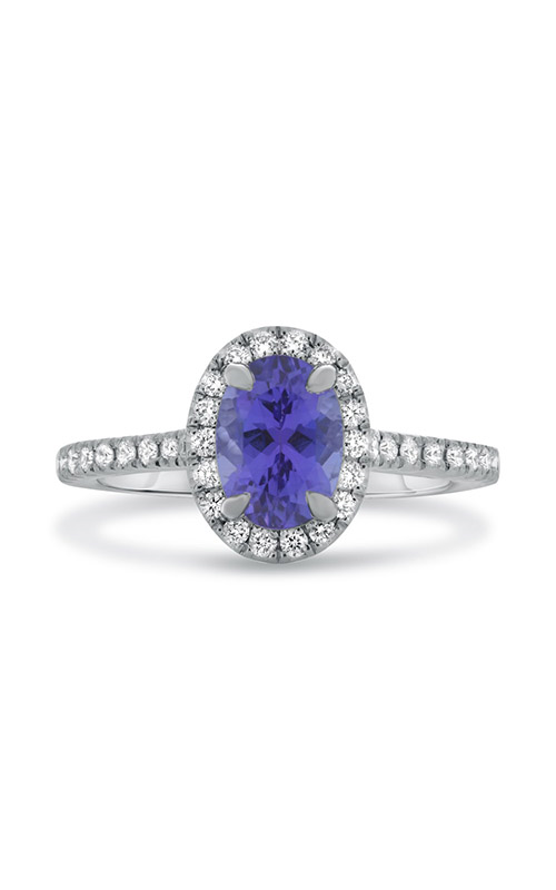 Roman and Jules White Gold Oval Tanzanite Halo Ring KR3648WTZ-2 product image