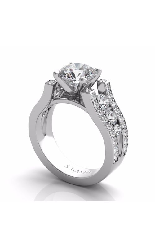 S Kashi & Sons Side Stone Engagement ring EN7215WG product image