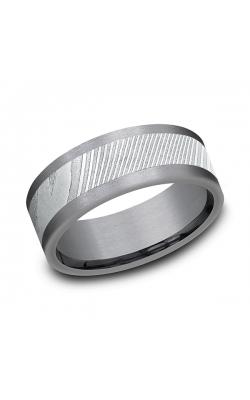 Tantalum and Damascus Steel Comfort-fit Design Wedding Band CF128814DSGTA07 product image