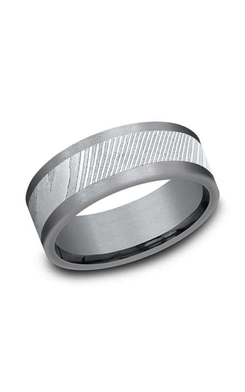 Tantalum and Damascus Steel Comfort-fit Design Wedding Band CF128814DSGTA07 product image