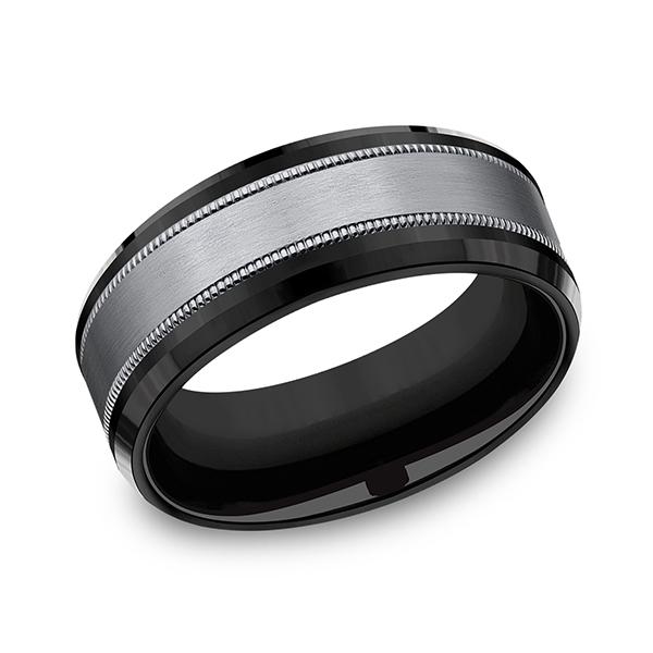 Tantalum and Black Titanium Comfort-fit Design Wedding Band CF108013SBKTGTA08 product image