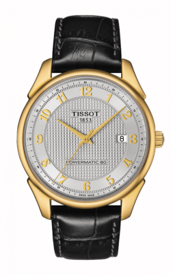 Tissot Vintage Powermatic 80 Men's Automatic 18K Gold Case Silver Dial Watch With Black Leather Strap T9204071603200 product image