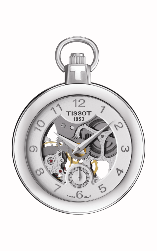 Tissot Pocket Mechanical Skeleton Silver Bezel Watch with Chain T8534051941200 product image