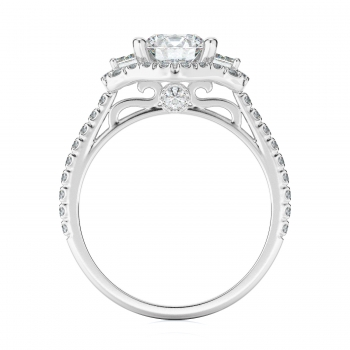 Halo, Three stone Style Diamond Engagement ring  (Center Diamond Not Included)