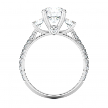 Three stone Style Diamond Engagement ring  (Center Diamond Not Included)