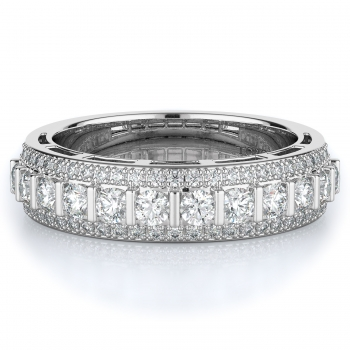 Pave, Tension Style Diamond Wedding band