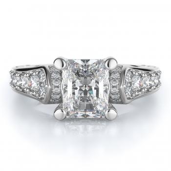 Sidestone Style Diamond Engagement ring  (Center Diamond Not Included)