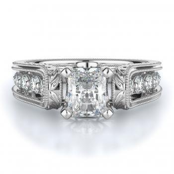 Sidestone Style Diamond Engagement ring