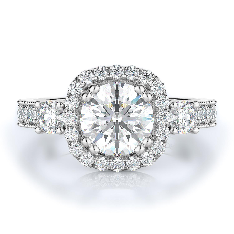 Three stone, Halo Style Diamond Engagement ring  (Center Diamond Not Included) product image