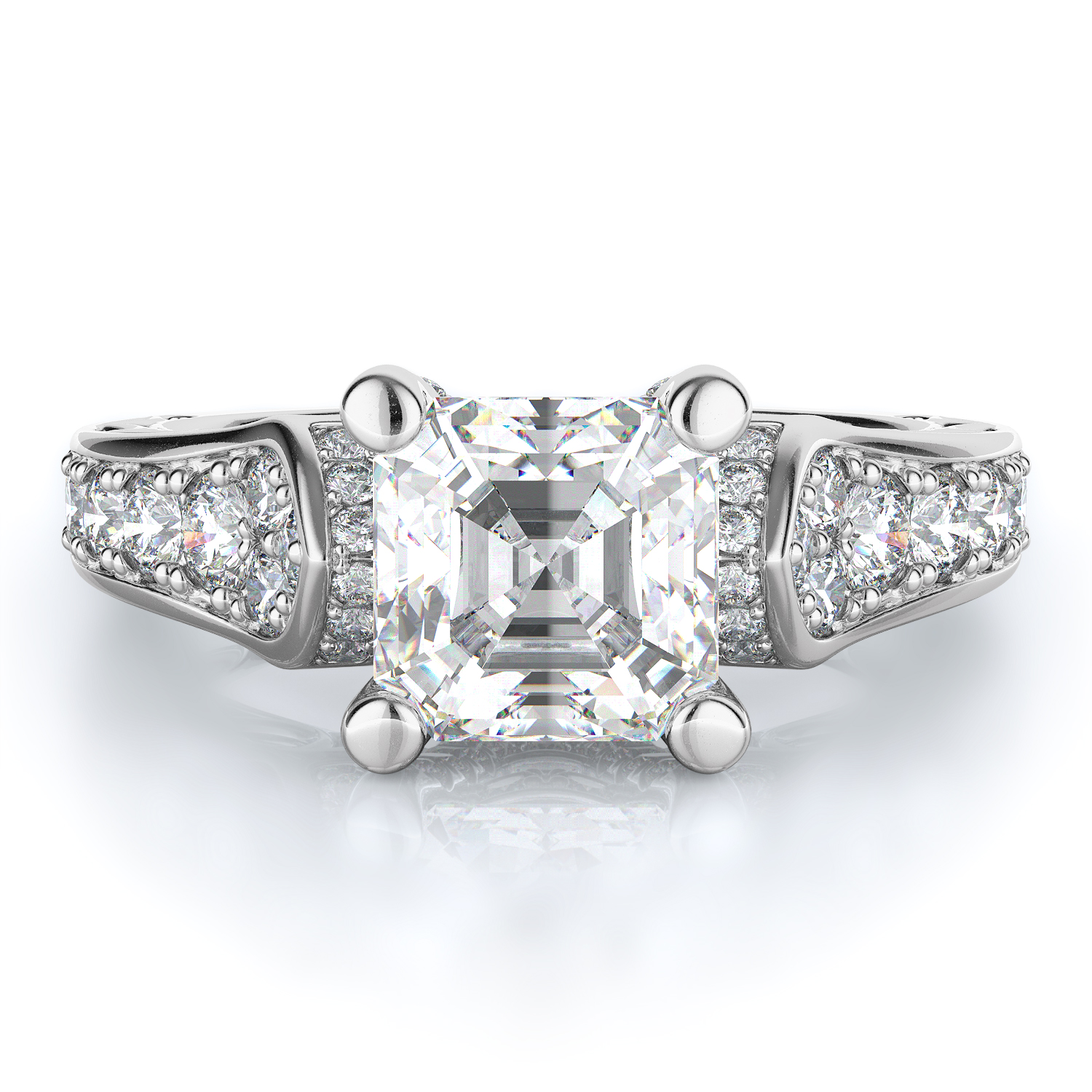 Sidestone Style Diamond Engagement ring product image