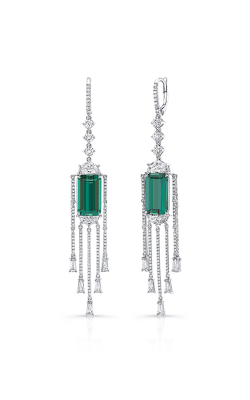 Uneek Reign Drops Green Tourmaline Dangling Diamond Earrings LVE943 product image