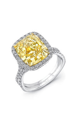 Uneek Cushion Cut Fancy Yellow Diamond Engagement Ring LVS948CUFY product image