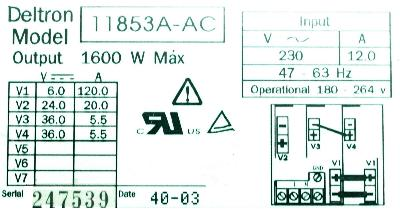Deltron 11853A-AC label image