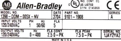 Allen-Bradley 1398-DDM-005X-NV label image