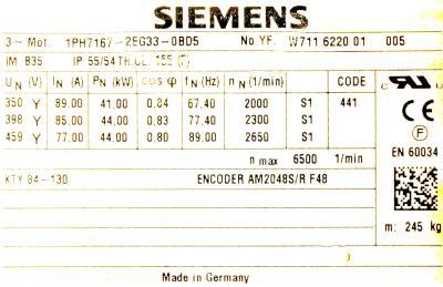 Siemens 1PH7167-2EG33-0BD5 label image