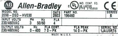 Allen-Bradley 2098-DSD-HV030 label image