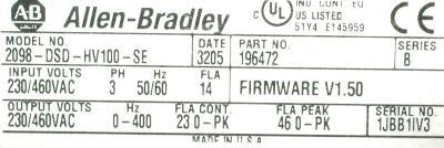 Allen-Bradley 2098-DSD-HV100-SE label image