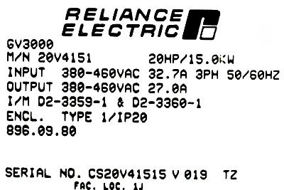 RELIANCE ELECTRIC 20V4151 label image