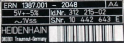 HEIDENHAIN 312215-02 label image