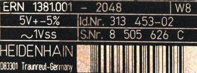 HEIDENHAIN 313453-02 label image