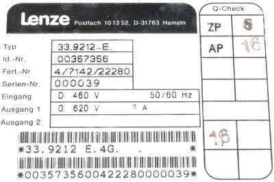 LENZE 33.9212-E label image