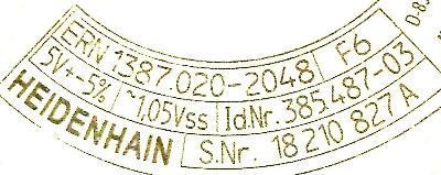 HEIDENHAIN 385487-03 label image