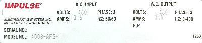 Magnetek 4003-AFG+ label image