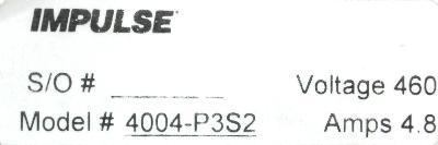 Magnetek 4004-P3S2 label image
