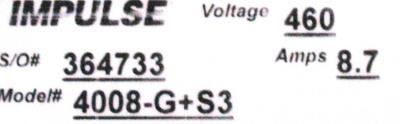 Magnetek 4008-G+S3 label image