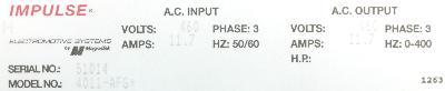 Magnetek 4011-AFG+ label image