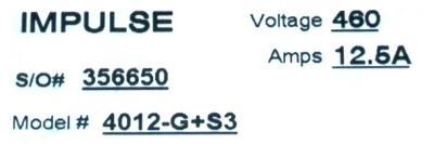 Magnetek 4012-G+S3 label image