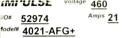 Magnetek 4021-AFG+ label image