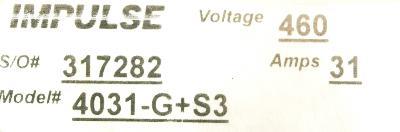 Magnetek 4031-G+S3 label image