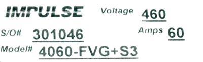Magnetek 4060-FVG+S3 label image