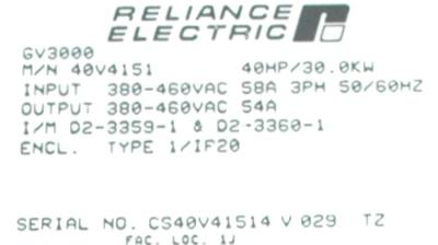 RELIANCE ELECTRIC 40V4151 label image