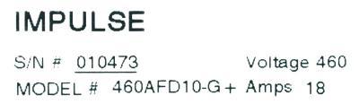 Magnetek 460AFD10-G+ label image