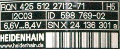 HEIDENHAIN 598769-02 label image