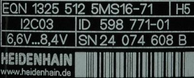 HEIDENHAIN 598771-01 label image