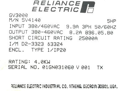 RELIANCE ELECTRIC 5V4140 label image