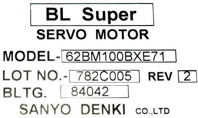 Sanyo Denki 62BM100BXE71 label image