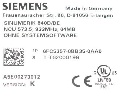Siemens 6FC5357-0BB35-0AA0 label image
