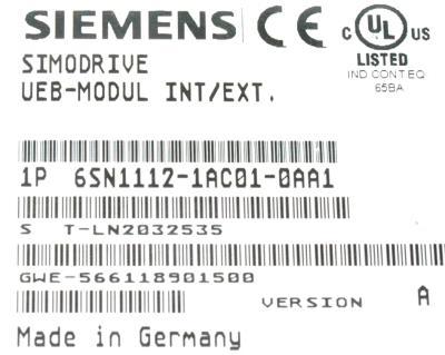 Siemens 6SN1112-1AC01-0AA1 label image