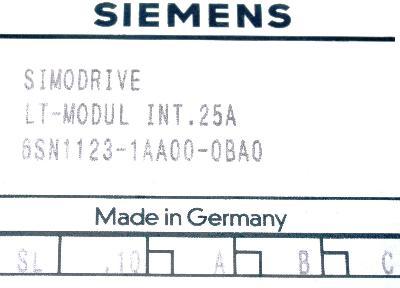 Siemens 6SN1123-1AA00-0BA0 label image