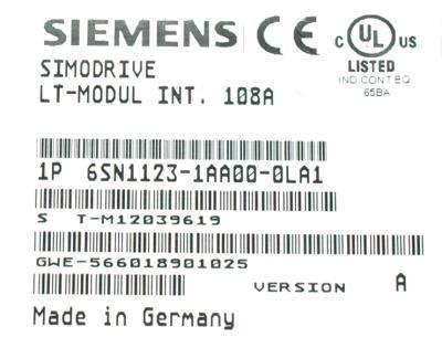 Siemens 6SN1123-1AA00-0LA1 label image