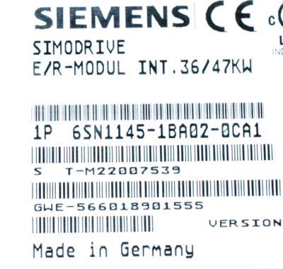 Siemens 6SN1145-1BA02-0CA1 label image