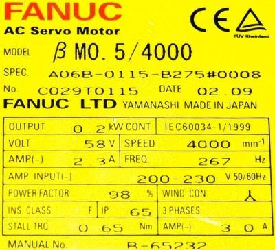 Fanuc A06B-0115-B275-0008 label image