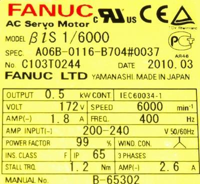 Fanuc A06B-0116-B704-0037 label image