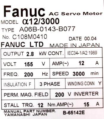 Fanuc A06B-0143-B077 label image