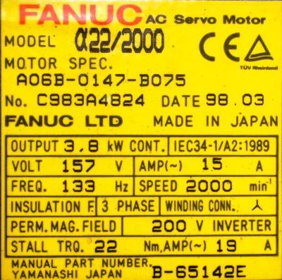 Fanuc A06B-0147-B075 label image