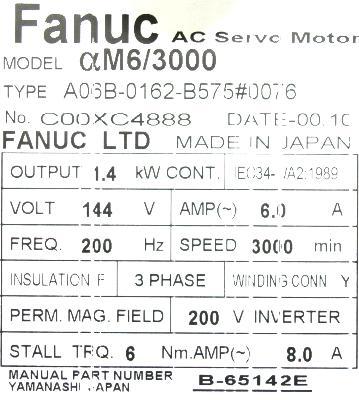 Fanuc A06B-0162-B575-0076 label image